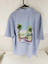 Tommy Bahama Men's 100% Silk Short Sleeve Blue Paradise Fairway Shirt  Large L