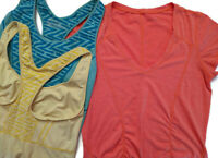 Zella Size M L Womens Lot Of 2 Racerback Tank Tops And 1 T Shirt Ruched Stretch
