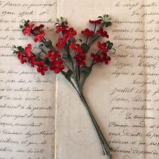 Charming Antique Vintage Red Velvet Flower Spray W/Pips Millinery Hat Flower