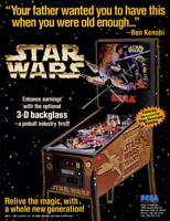 STAR WARS TRILOGY Pinball Machine Flyer Original NOS 1997 Artwork SEGA Space Age
