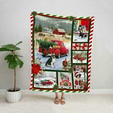 Border collie puppy merry christmas dog lover red truck farmhouse fleece blanket