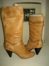 $328 NEW FRYE Womens US 10 Simone Cuff Mid-Calf Leather Natural Tan Boots Shoes