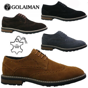 NEW MENS SUEDE LEATHER CASUAL FORMAL SMART WEDDING WORK BROGUE OXFORD SHOES SIZE