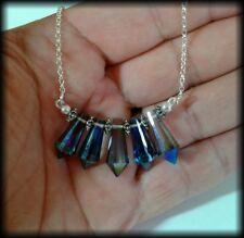 Vintage 925 Sterling Silver and Faceted Titanium Aura Quartz Crystal Necklace