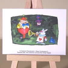 ACEO WDCC Wonderland Cheshire Cat White Rabbit Tweedle Dee drawing Art Card