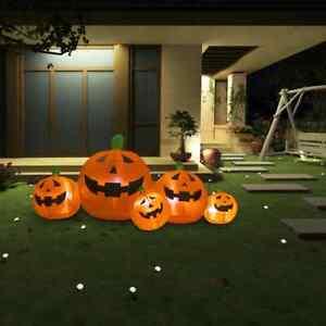 vidaXL Halloween Kürbisfamilie LED 1,8m Aufblasbare Figur Kürbis Gartendeko