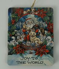 Jody Bergsma Ornament, Joy to the World, Santa with Puppies, Kitten, Hedgehog