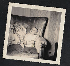 Antique Vintage Photograph Adorable Baby Sitting in Chair in Retro Living Room