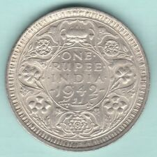 BRITISH INDIA 1942 KING GEORGE VI ONE RUPEE SILVER COIN NEAR ABOUT UNC