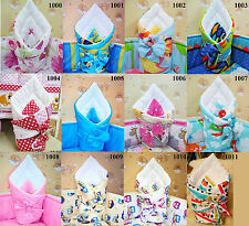 Baby Swaddle Wrap Newborn Blanket Sleeping Bag With Ribbon 100% Cotton