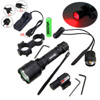 C8 Tactical Q5 5000Lm Red LED Flashlight Hunting Torch Campin Lamp Switch Mount