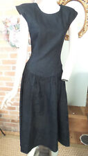 Vintage Black Dress Embossed Print by Kathryn Conover NY 100% Cotton Size 6