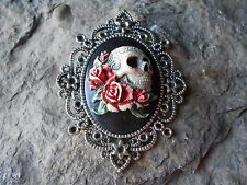 *SKULL & RED ROSES (HAND PAINTED) CAMEO PENDANT - MEXICAN SUGAR -  GRATEFUL DEAD