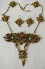 Huge bookpiece Art Deco Czech filigree necklace and earrings set