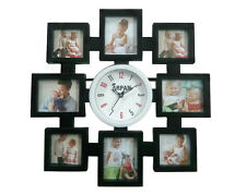 Arpan Wall Clock, Holds 8 Multi Picture/Photo frame, Ideal Gift - Black