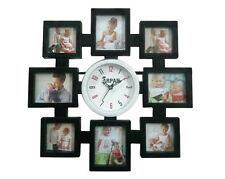 Arpan Orologio da parete, detiene 8 MULTI FOTO / PHOTO FRAME, REGALO IDEALE-Nero