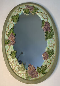 Oval Mosiac Entry Mirror purple Grapes green resin  Wall Hanging 24x16