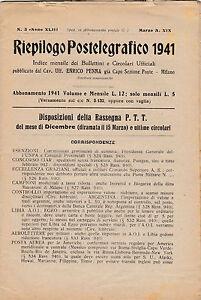 RIEPILOGO POSTELEGRAFICO 1941 BULLETTINO DI ENRICO PENNA CAPO POSTE MILANO 18-55