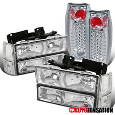 For 94-98 GMC C10 Sierra Yukon Clear Headlights+Corner+Bumper+LED Tail Lamps