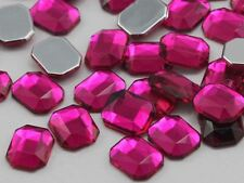 10X8mm Pink Fuchsia A27 Flat Back Octagon Acrylic Gemstones - 70 PCS