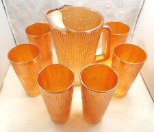 Vtg Jeannette Carnival Glass Marigold Tree Bark Pitcher & 6 16oz Tumbler Glasses