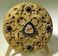 Antique French Jeweled Micro Mosaic Compact  Gold Ormolu Miniature Compact Box