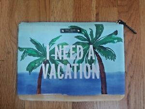 """Kate Spade I Need a Vacation Clutch Bag Pouch 10""""x7"""" Palm Trees Beach Tropical"""
