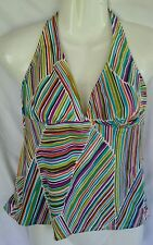 ABS Allen Schwartz Sz 10 Swimsuit 2pc Halter Skirted Bikini Striped Multi-Color