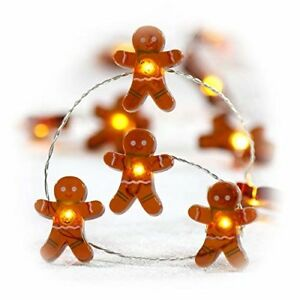 String Lights Gingerbread Cookies 10 Ft 40 LED Home Decor Christmas Holiday New