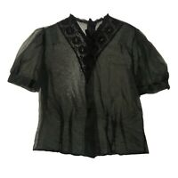 1950s Black Sheer Blouse / Floral Embroidery Top with Short Sleeve / Large