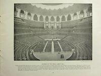 1896 VICTORIAN LONDON PRINT + TEXT ~ INTERIOR OF THE ROYAL ALBERT HALL