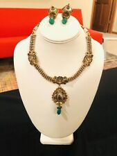 Earrings with Teal Green Accents Antique Gold plated Indian Necklace And