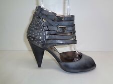 DKNYC DKNY Size 8.5 VIVIAN Black Leather Heels Sandals New Womens Shoes