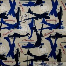 BonEful Fabric FQ Cotton Quilt Tan Blue Red White Air*plane Force Military Eagle