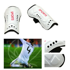 White Football Soccer Shin Guards Pads Shinguard Protector Ankle Support