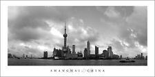 Poster Panorama Shanghai China Skyline Panoramic Fine Art Black and White Print