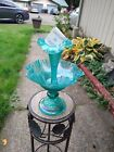 Fenton Teal Carnival Glass Diamond Lace Epergne