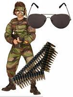 Boys Kids Childs Muscle Soldier Army Fancy Dress Costume Sunglasses Bullet Belt