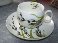 1954 W.S. GEORGE HALF CENTURY DINNERWARE PUSSY WILLOW & GREEN GRASS CUP SAUCER