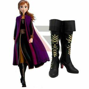 Frozen 2 Princess Anna Queen Arendelle Cosplay Shoes Women Black High Heel Boots