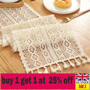 Wedding Table Runner Lace Tassel Crochet Hollow Woven Tablecloth Home Decor-bb