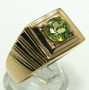 PERIDOT Round Solitaire 18KT over .925 S/S GENT'S RING S/S Srize 10 GORGEOUS!