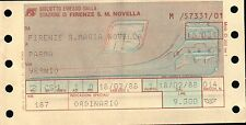 BIGLIETTO DEL TRENO FERROVIE F.S. = FIRENZE S.M.N. / PARMA - 1988 -  (C10-899)