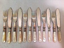Sheffield EPNS A1 Mother of Pearl Dessert Set Knife Fork 12 Piece Set Cased