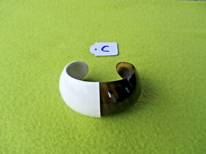Armreif aus Büffelhorn, halb weiß lackiert, Handgefertigt, 4804 C - SONDERPREIS