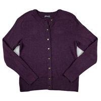 Eddie Bauer Women Small Crew Neck Cotton Knit Sweater Top Button Down Purple