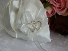 Elegant Ivory Brides Bag/Dilly Bag w/Interlocking Diamente Love Hearts