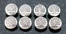6 Silver Metal Buttons Tree of Life Interconnection of all Life Eternal Life