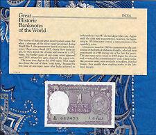 Great Historic Banknotes India 1 Rupee 1969 P 66 GEM UNC Prefix B/86