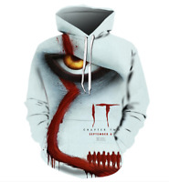 Halloween Mens Hoodie 3D Printed Pennywise Michael Myers Horror Party Size S-6XL